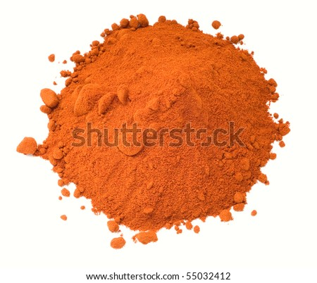 Red paprika spices isolated on white background