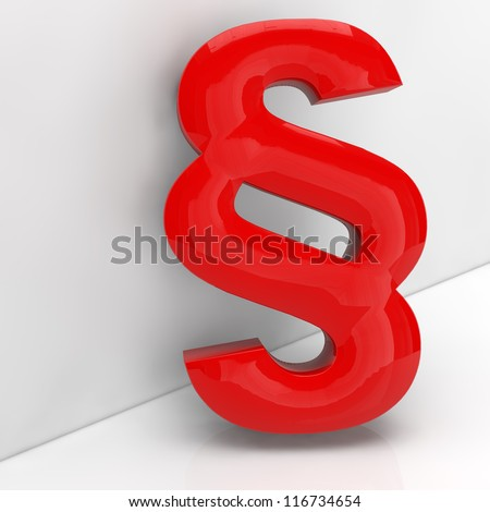 Red paragraph symbol in 3D leaning on a grey wall