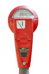 Red parking meter isolated on white background with clipping path.