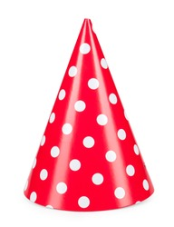 red party hat isolated on a white background.