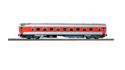 Red passenger train wagon on rails, isolated on a white background  with clipping path