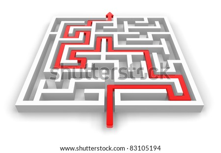Red path across white labyrinth isolated on white background