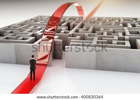 Red path with businessman going over complicated concrete maze. 3D Rendering