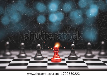 Red pawn chess stepped out of line to leading black chess and show different thinking ideas. Business technology change and disruption for new normal concept. Stock photo ©