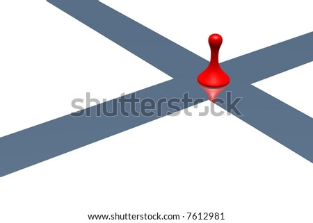 red pawn in an intersection