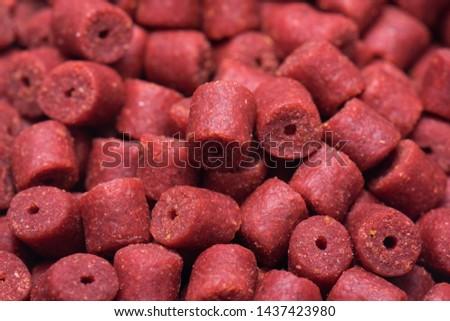 Red pellets for catch fish, carp bait. #1437423980
