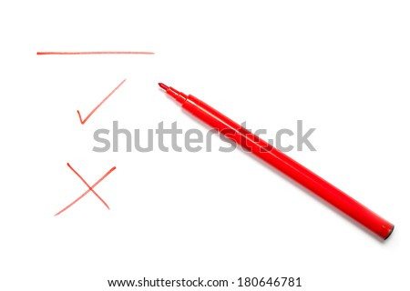 red pen with a line  check mark ...