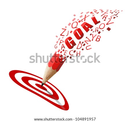 Red pencil and GOAL alphabet with row red and white icon isolate on white background.