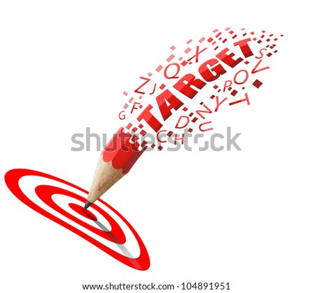 Red pencil and TARGET alphabet with row red and white icon isolate on white background.