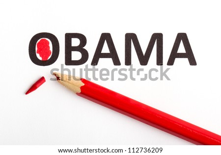 Red pencil (broken point) for voting the next president (election 2012), Obama