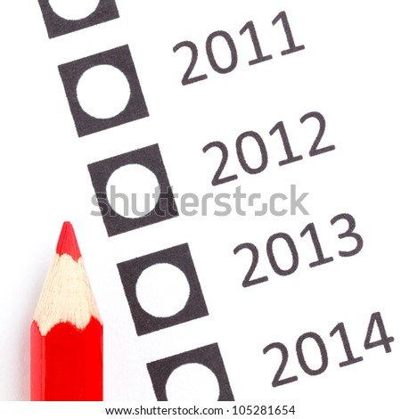Red pencil choosing a date (year, vote)