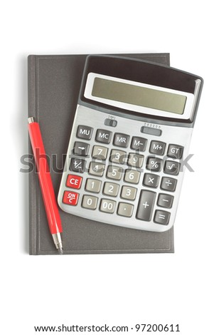 red pencil, diary and calculator isolated on white