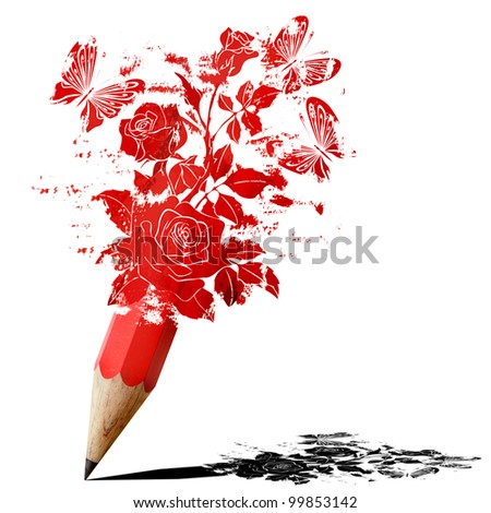 red pencil fancy of roses with butterflies isolated on white