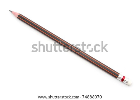 Red Pencil isolated on  white background - stock photo