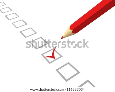 red pencil making tick in check box on white background