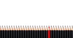 Red pencil standing out same crowd black bold pencils on white background, with space text. Leadership, unique, independence, initiative, strategy, dissent, think different, business success concept.