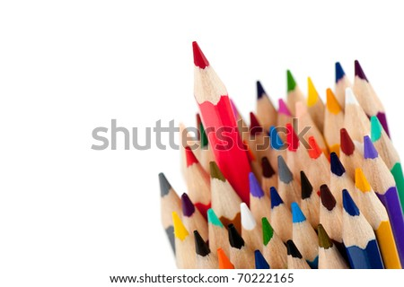 Red pencil - the leader. It is isolated on a white background