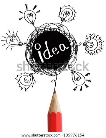 Red pencil with abstract speech bubbles and bulbs idea concept isolated on white background.