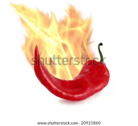 Red pepper and fire flame. Very hot