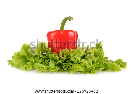 Red pepper and salad leaf isolated on white background