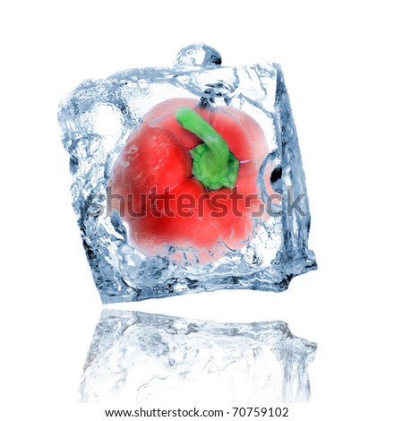 Red pepper in ice cube - stock photo