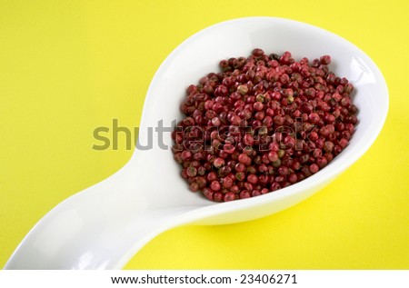 Red pepper in white spoon