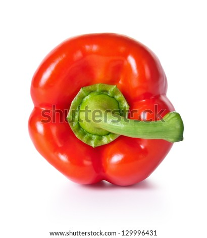 Red pepper isolated on white background, fresh vegetable, top view