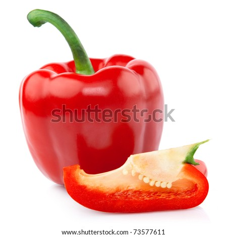 Red Pepper with a slice cut isolated on white background
