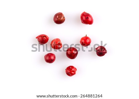 red peppercorns seeds isolated on white background #264881264