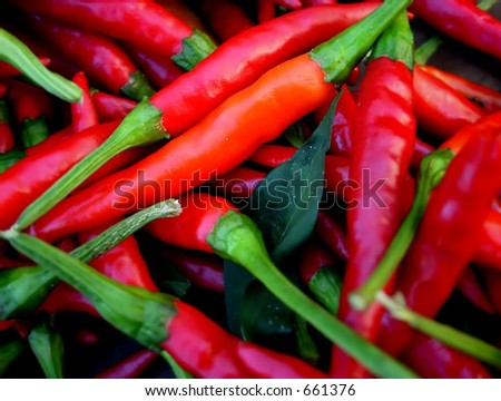 Red peppers at farmers' market - stock photo