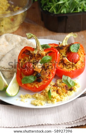 Red peppers stuffed with couscous