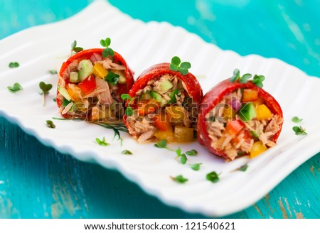 Red peppers stuffed with tuna salad