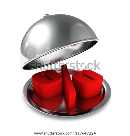 red percent sign on opened silver tray