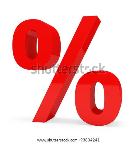 Red Percent Sign over white background
