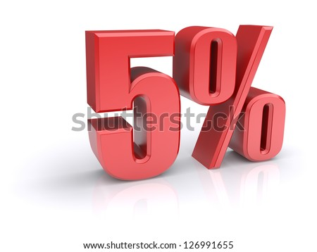 Red 5% percentage rate icon on a white background. 3d rendered image