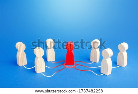 Red person spreads his influence to other people. The process of chain infection. Leader and leadership. Dissemination of information and rumors. Recruiting new followers around the idea. Photo stock ©