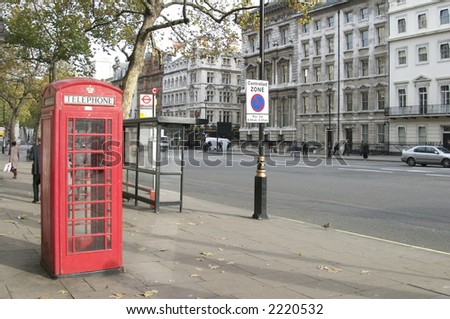red phone booth london - stock photo