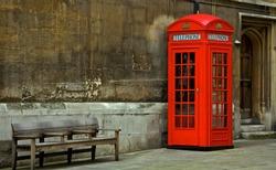 Red phone box in London, United Kingdom,