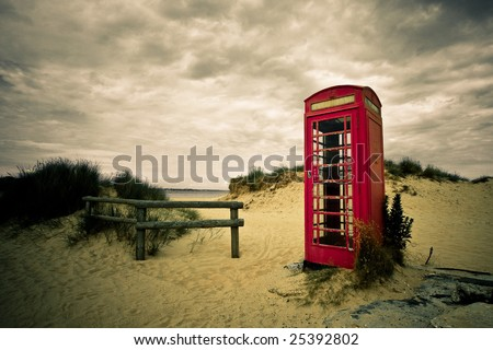 red phone on abandoned field