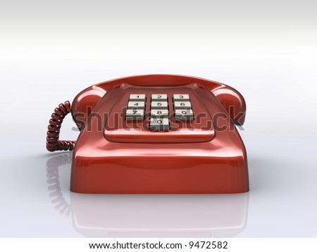 Red phone over white floor. Concept of old technology, antique way of communication.