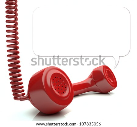Red phone over white floor. Your message on balloon. You can change the size of the balloon painting the background with white color and redraw another balloon.