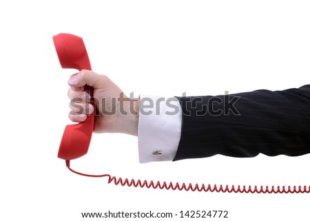 red phone urgent call for you isolated on white background