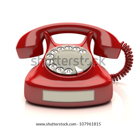 Red phone with empty label. Your number on label.