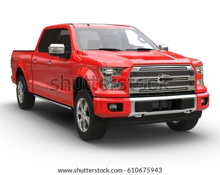 Red pickup 3d car illustration isolated on white front view