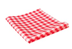 Red picnic cloth folded isolated on white. Food advertisement concept backdrop.