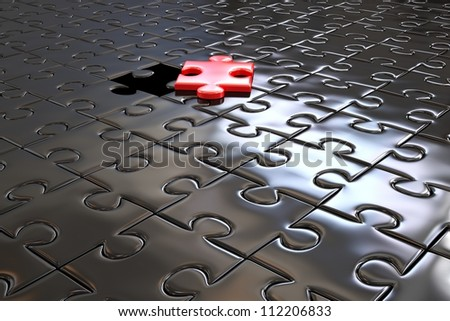 Red piece in black puzzle - High quality 3D Render