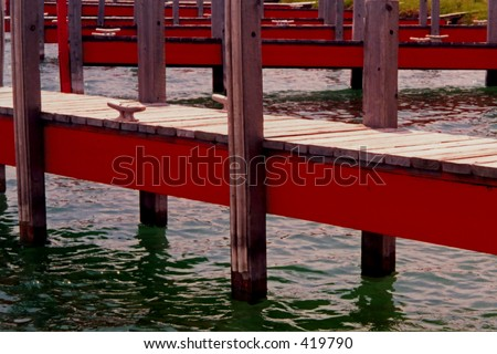 Red piers, Lake Michigan, Door County, Wisconsin
