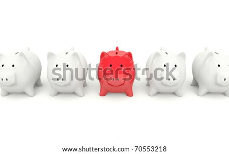 Red piggy bank isolated on white