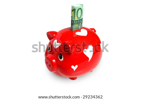 Red piggy bank with 100 euro with clipping path