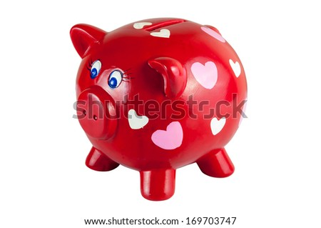Red piggy bank with hearts isolated on white background, clipping path included